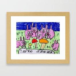 Rabbits like mushrooms Framed Art Print
