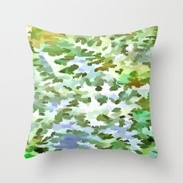 Foliage Abstract Pop Art In White Green and Powder Blue Throw Pillow