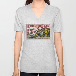 1938 Ringling Brothers and Barnum & Bailey Circus Tiger Act - Greatest Show on Earth Circus Poster Unisex V-Neck
