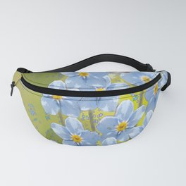 Forget-me-not flowers - watercolor art on green background Fanny Pack