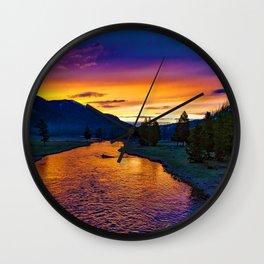 Sundown At Yellowstone Wall Clock