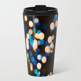 Blue Orange Yellow Bokeh Blurred Lights Shimmer Shiny Dots Spots Circles Out Of Focus Travel Mug