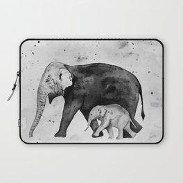 Family of elephants, black and white Laptop Sleeve