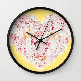 pink and red heart shape with yellow background Wall Clock