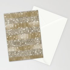 Gold Bokeh Faux Glittery Stripes Stationery Cards