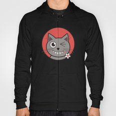 Winking Cartoon Kitty Cat Hoody