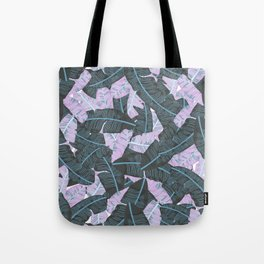 Miami Beach Banana Leaves Repeat in Electric Pink + Green Tote Bag