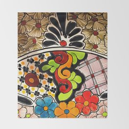 Beautiful Red and Green Talavera Throw Blanket