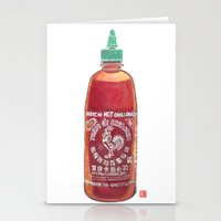 sriracha Stationery Cards featuring Sriracha Hot Sauce by Connie Luebbert