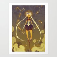 sailormoon Art Prints featuring SailorMoon by samanthadoodles