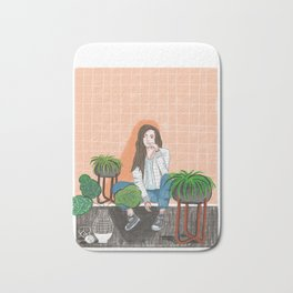 girl in peach with plants illustration painting Bath Mat