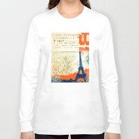 paris map Long Sleeve T-shirts featuring Paris by Kimball Gray