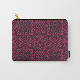Courage of her Conviction Tiled - Fuchsia Black Carry-All Pouch