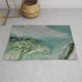 Slow Down II - Olive Sage Green Pattern Abstract Art Fluid Marble Design Rug