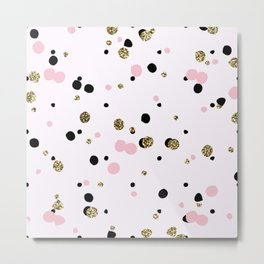 Pink Black Gold Party Dots Metal Print
