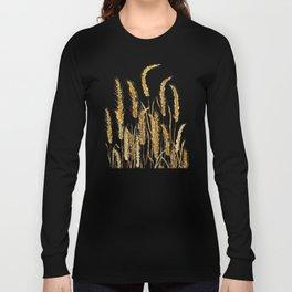 golden wheat field watercolor Long Sleeve T-shirt