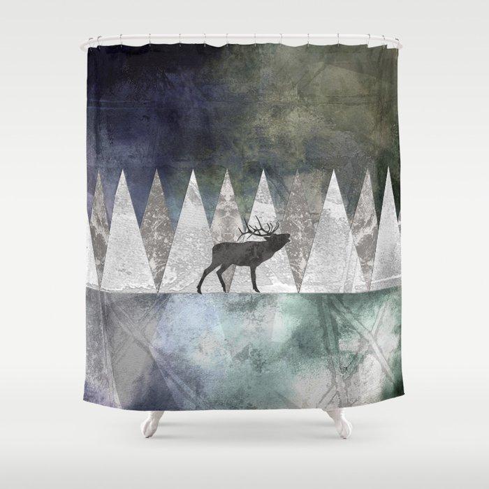 Bull Elk Shower Curtain By Aquamarinestudio