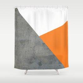 Concrete Tangerine White Shower Curtain