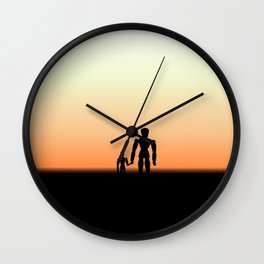 New Day Sunrise or Sunset for Father and Child Wooden Dolls Wall Clock