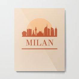 MILAN ITALY CITY SKYLINE EARTH TONES Metal Print