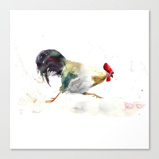 Symbol of 2017 Year, watercolor rooster, cock, cockerel Canvas Print
