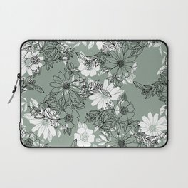 Vintage green black white hand drawn floral Laptop Sleeve
