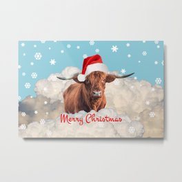 Highland Cow Santa Claus Merry Christmas snow Clouds Metal Print