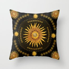 """Black & Gold Vault Mandala"" Throw Pillow"