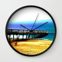 postcard Wall Clocks featuring Postcard by Shemaine
