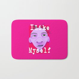 ugly face drawing with text i like myself Bath Mat