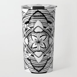 Wild black mandala on white Travel Mug