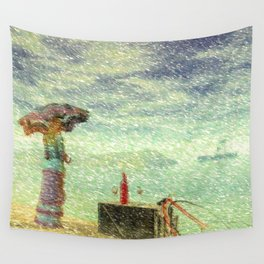 Down By The Sea Wall Tapestry