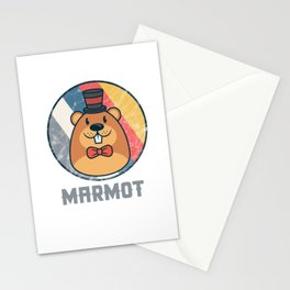 Vintage Cute Wildlife Marmot Colorful Retro Animals Stationery Cards