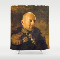 replaceface Shower Curtains featuring Bruce Willis - replaceface by replaceface