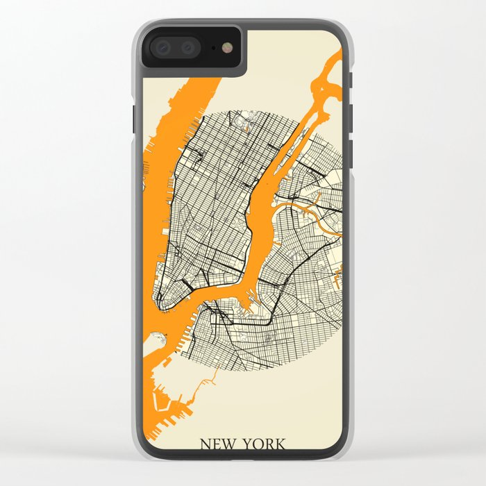 New York Map Moon Clear iPhone Case