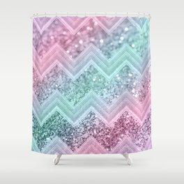Mermaid Glitter Chevron #2 #shiny #pastel #decor #art #society6 Shower Curtain