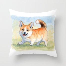 Funny Welsh Corgi 859 Throw Pillow