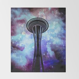 Space Needle - Seattle Stars Clouds Fog Throw Blanket