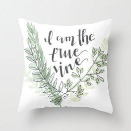 I am the true vine // watercolor bible verse john Throw Pillow