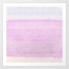 Pastel pink lilac ivory ombre watercolor Art Print