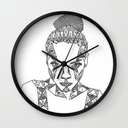 Geometric portrait Wall Clock