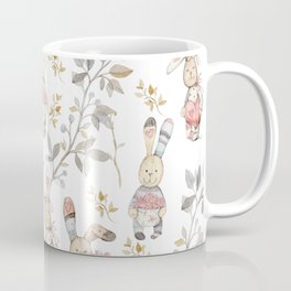 Cute Easter Bunnies with Watercolor Flowers,Sprigs and Leaves Coffee Mug