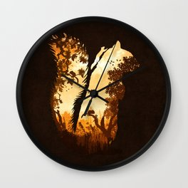 Squirrels in the Fall Wall Clock