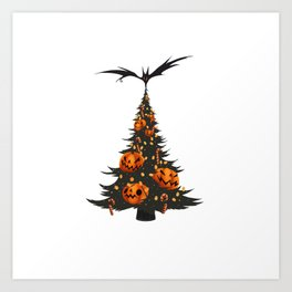 Halloween Christmas Tree - White Art Print
