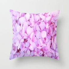 Pink Lavender Hydrangea Throw Pillow