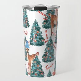 Christmas Fawns and Trees Travel Mug