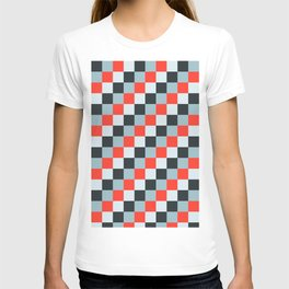 Stainless steel knife - Pixel patten in light gray , light blue and red T-shirt