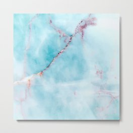 Light blue and purple faux marble Metal Print