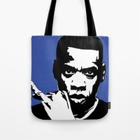 jay z Tote Bags featuring Jay Z by Gary Barling