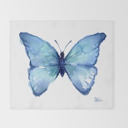 Blue Butterfly Watercolor Throw Blanket